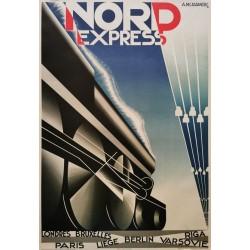 Nord express Cassandre.70x102 train à vapeur
